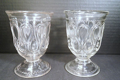 "PAIR OF BRYCE BROTHERS EAPG ""RIBBON CANDY"" CLEAR GLASS GOBLETS"