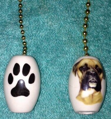 One Boxer Dog Fan Pull With Paw Prints On The Back 1""