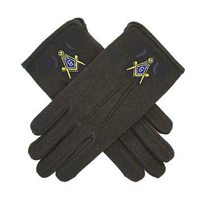 MASONIC GLOVES - EMBROIDERED on BLACK COTTON - 4 SIZES * SM...MD...LG...XL