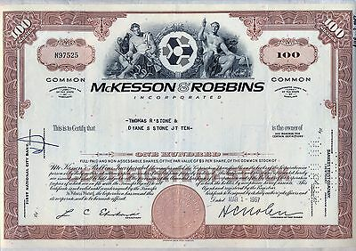 McKesson & Robbins Incorporated Stock Certificate Maryland