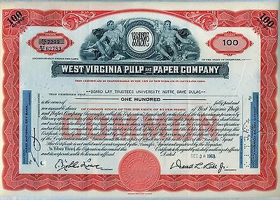 West Virginia Pulp & Paper Company Stock Certificate