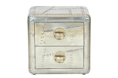 Aviator Aluminum SideTable With 2 Drawer