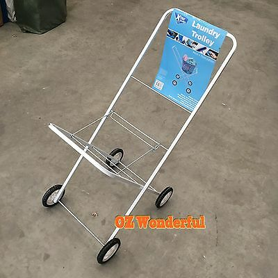 Laundry Trolley Washing Trolley Clothes Suit Basket Collapsible Cart Free Basket