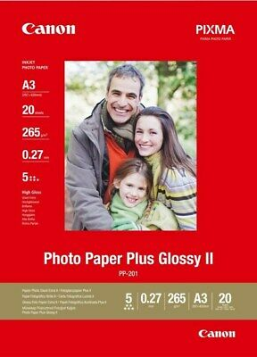 Canon PIXMA PP-201 (A3) 275g/m2 Plus Glossy II Photo Paper (White) 1 Pack of 20