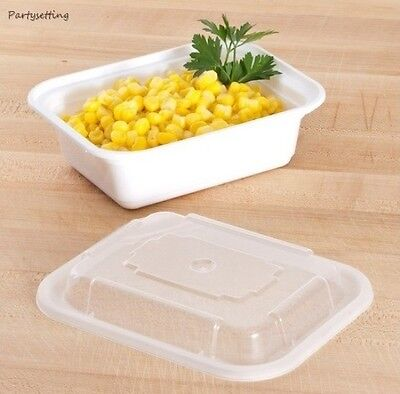 Tripak MT6110W White 12oz VERSAtainer 5x4 Rect Microwavable Container w/Lid 150