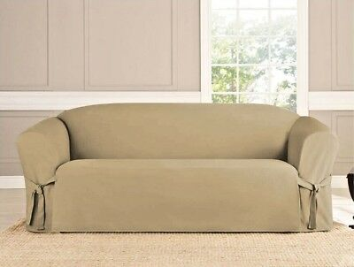 Microsuede Slipcover Sofa Loveseat Chair Furniture Cover, Taupe Brown Black