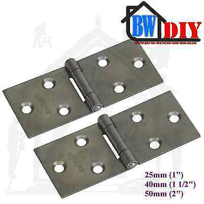 2 x Heavy Duty Steel Back Flap Hinges 25mm, 40mm & 50mm Box Hinge, Counter Hinge
