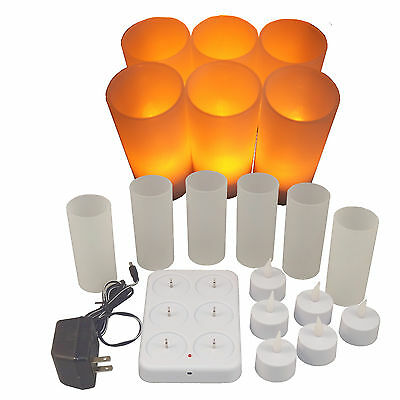 Set of 6 NEW LED Rechargeable Flameless Tea Light Candles with Difused Votives.