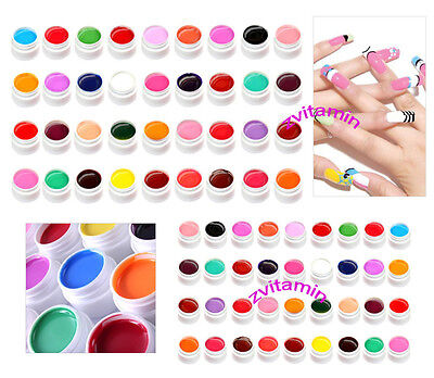 36 Pots Pure Color Decor UV Gel Nail Art Tips Shiny Cover Extension Manicure New