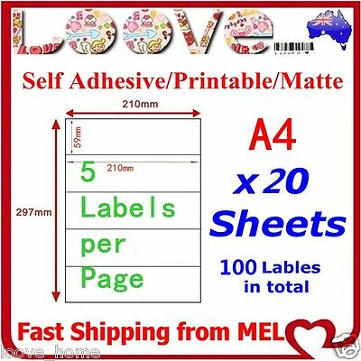 20x A4 Labels Sticker Paper Sheet Mailing Address Office Laser Inkjet Print 5x1