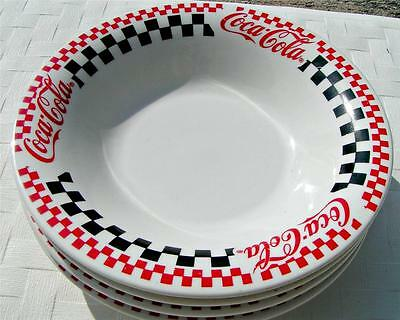 Coca Cola by Gibson Designs LOT of 4 RIMMED SOUP BOWLS checkerboard B10