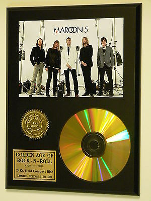 Maroon 5 - 24k Gold CD Display Rare Limited Edition - Free USA Priority Shipping