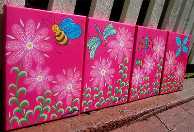 Set of 4 New BUGS Prints on Canvas Girls Wall art 23x31cm each