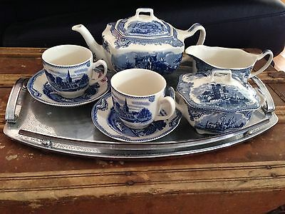 Johnson Brothers Blue and White 9 piece Tea Set - New