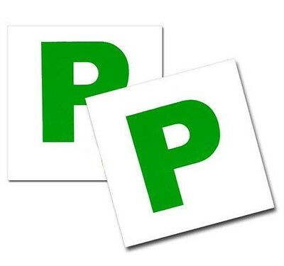 2x FULLY MAGNETIC P PLATES NEW DRIVER GREEN PASS PLATES FOR CAR VEHICLE MOTOR