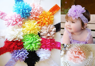 Baby Girls Large Ruffle Flower Lace Hairband Soft Elastic Headband Hair Band