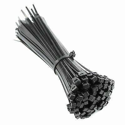 370mm x 4.8mm BLACK NYLON CABLE ZIP TIES FOR FASTENING CABLES & WIRES +FREE TIES