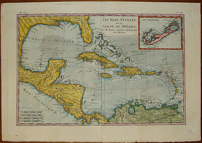 Old map Golfo Messico Bonne Rigobert Mexico stampa incisione engraving gravure