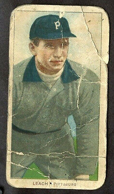 1909 -1911 T206 Tommy Leach Polar Bear Back Pittsburgh Vintage Tobacco CREASED