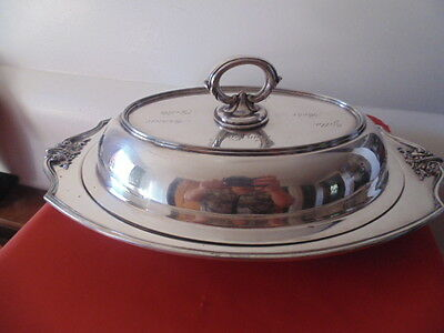 ANTIQUE 13The Van Bergh.co 3445 Silver Plate Company covered serving dish USA