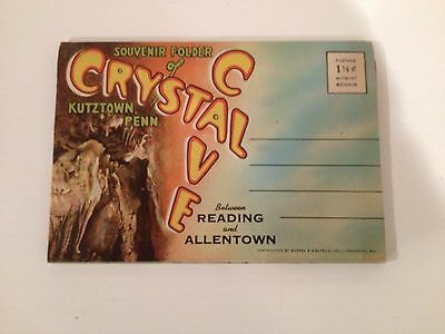 Crystal Cave Klutztown Pa Vintage Souvenir Folder With Assorted Cave Photos