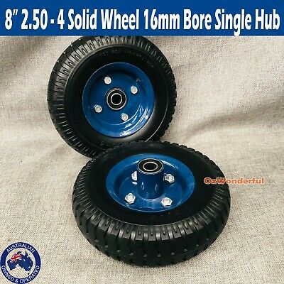 "2× 8"" 16mm Bore Puncture Proof Rubber Wheels Trolley Solid Flat Free Tire Tyre"