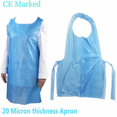 Blue Polythene Disposable Plastic Aprons -20 MICRON APRON THICKNESS, Pack of 100