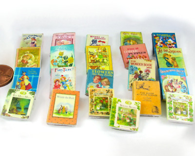 CHILDREN'S Vintage Style 21 Miniature Books Dollhouse 1:12 Scale Prop Faux Books