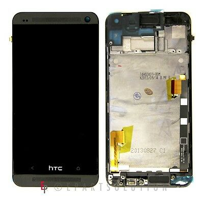Black HTC One M7 LCD Display & Digitizer Touch Screen Frame Assembly Repair Part