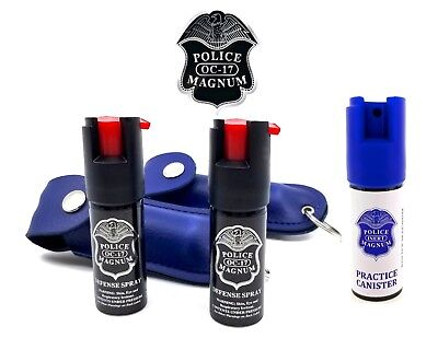 Police Magnum Pepper Spray 2 Pack 1/2oz Keychain Holster Case w/ Practice Spray