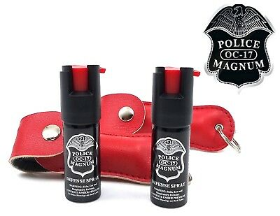 2 PACK Police Magnum 1/2oz Red Keychain Holster pepper spray Defense Security