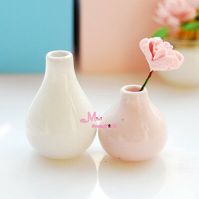 1:12 Dollhouse Miniature 2 PCS of ART Vase Pot pink & White