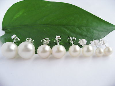 AAAA White Cultured Freshwater Pearl 925 Stamped Sterling Silver Stud Earrings