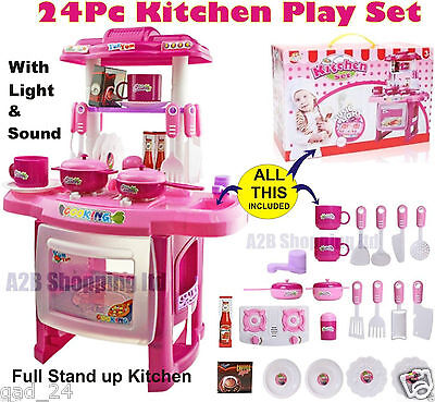 Pink Kitchen Small -Cooking Role Play Set Toy Light & Sound Childrens Kids Girls