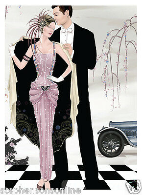 A5 Notebook Art Deco Couple With Car Lined Hard Back Wiro Bound