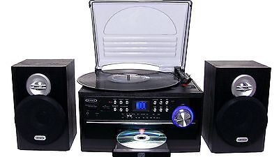 NEW JENSEN 3-Speed Home Stereo CD/RECORD/CASSETTE Player + Turntable AM/FM Radio