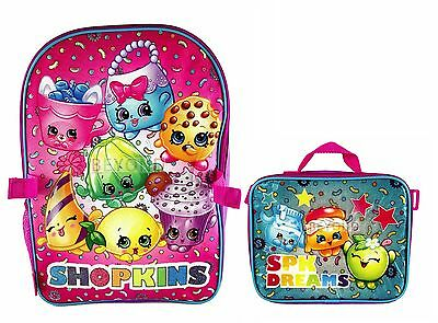 """I Love SPK ShopKins 16"""" Large School Backpack with Detachable Lunch Bag Combo"""