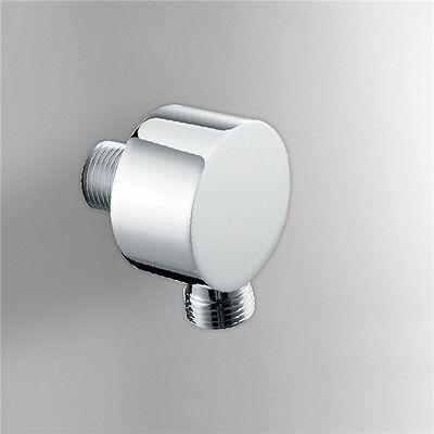 Bath Brass Round Shower Head Hose Water Connector Elbow Wall Outlet