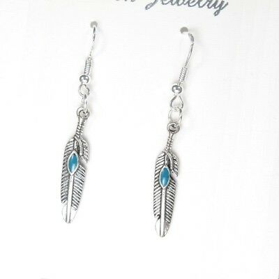 Vintage Silver Dangle Native American Indians Tribal Turquoise Feather Earrings