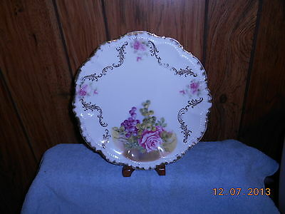A very old decorative plate,green & purple grapes, deep pink rose..Bavaria