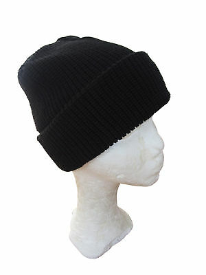 Black Winter Watch Cap - Beanie Wooly Bobble Knitted Hat Military Army Winter