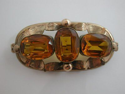 Victorian Antique Rolled Gold or Pinchbeck & Citrine Coloured Paste glass Brooch