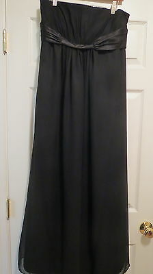 ladies black strapless formal dress size 10 womens gown sheer overlay prom party