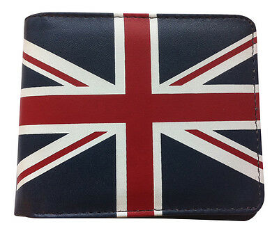Navy Mens Faux Leather Bifold Union Jack Wallet With Id Window Rl1963