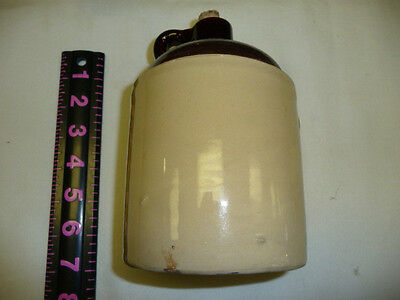 Antique Stoneware USA Brown / Beige Two-Tone Crock Whiskey Jug 6.5 x 4.5 inches
