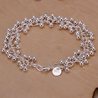 925 Silver Plated Filled Grapes Bracelet Bangle Women Fashion jewelry *UK Seller