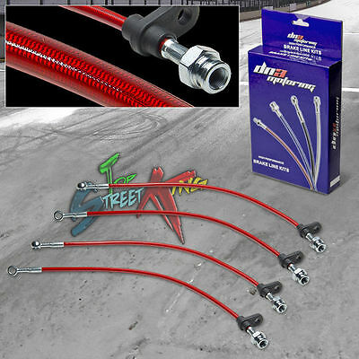 Hi Performance Stainless Steel Braided Brake Line Tsx Cu2/tl/rsx Dc5/accord Red