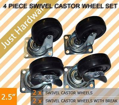"4PC PCS 2.5"" SWIVEL CASTOR CASTER WHEEL 2 with brakes 65MM Trolley Wheels"