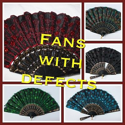 Embroidered Fabric Folding Hand Held Fan With Defects Sequins Party  US Seller