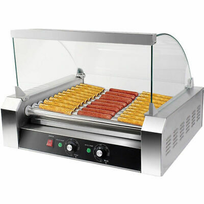 Commercial 11 Roller 30 Hot Dog Grill Cooker Machine W/ cover CE Stainless steel